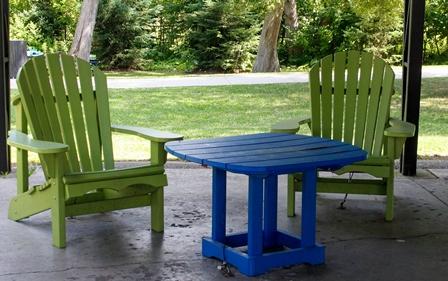 Blue and Green Adirondack Chairs Lake Wilcox Park