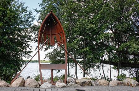 Canoe Sculpture Lake Wilcox Park